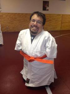 Moments after I got my orange belt in jujitsu class.